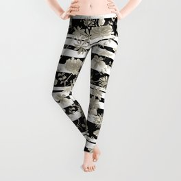 The floral pattern on striped background. Leggings