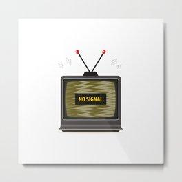 Old Tv Jamming No Signal Flat Vector Illustration Metal Print