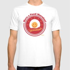 Food Morning! White MEDIUM Mens Fitted Tee