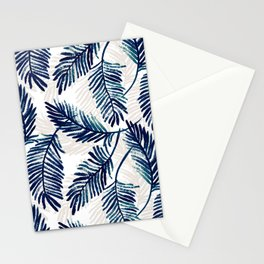 """Blue palm leaves pattern """"Pamela"""" Stationery Cards"""