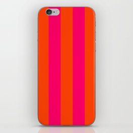 Bright Neon Pink and Orange Vertical Cabana Tent Stripes iPhone Skin