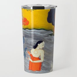 Krishna playing with the Gopis in the Jumna - Vintage Indian Art Print Travel Mug