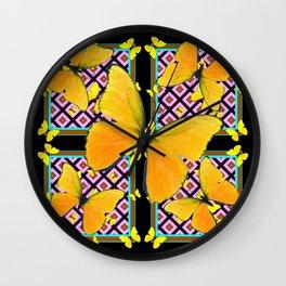 Golden Yellow Butterflies Pattern On Black Wall Clock
