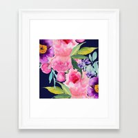 craftberrybush Framed Art Prints featuring Floral blue by craftberrybush