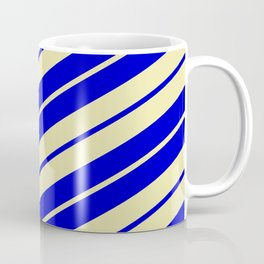 Pale Goldenrod and Blue Colored Pattern of Stripes Coffee Mug