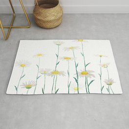 white daisy watercolor horizontal Rug