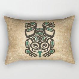 Teal Blue and Black Haida Spirit Tree Frog Rectangular Pillow