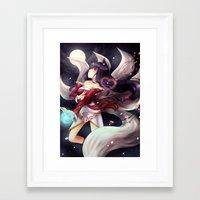 league of legends Framed Art Prints featuring League of legends Ahri by Rikku Hanari