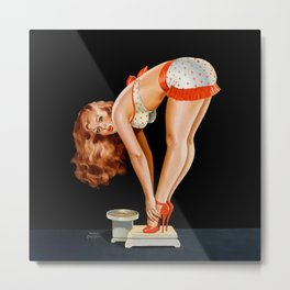Pin-Up Beauty on Scales by Peter Driben Metal Print