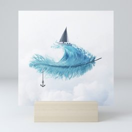 Water Feather • Blue Feather (horizontal) Mini Art Print