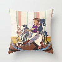barbie Throw Pillows featuring Barbie by Jane Lim illustration