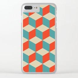 cube pattern blue orange cream Clear iPhone Case