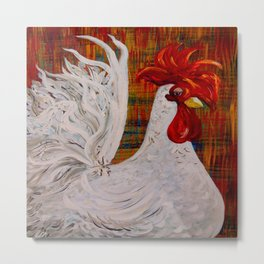 I Know I am Lovely - White Rooster Metal Print