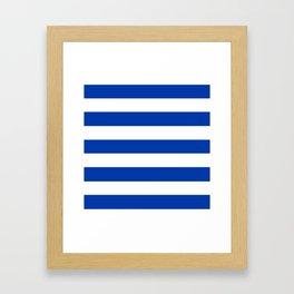 Royal azure - solid color - white stripes pattern Framed Art Print