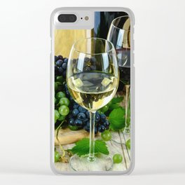 Glasses of Wine plus Grapes and Barrel Clear iPhone Case
