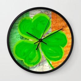 Classic Irish Shamrock - Vintage Collage Art Wall Clock