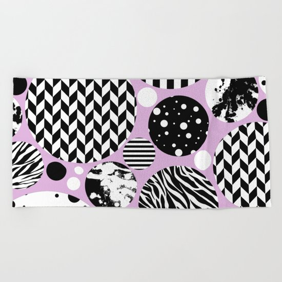 Eclectic Black And White Circles On Pastel Pink Beach Towel