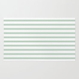 Moss Green and White Mattress Ticking Wide Striped Pattern Rug