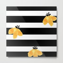 Black and White Horizontal Stripes with Gold Flowers Metal Print