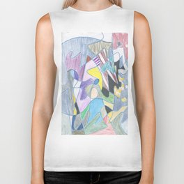 Abstract Color Doodle Biker Tank