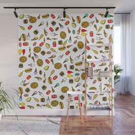 Fast Food Takeaway Cartoon Pattern Wall Mural