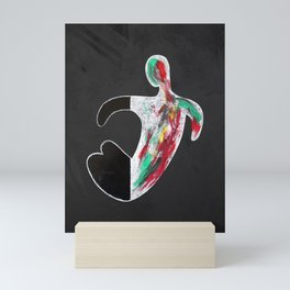 Abstract Colorful Ink Painting Strokes Modern Human Nude Body Drawing Mini Art Print