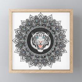 Roaring White Tiger Mandala Framed Mini Art Print