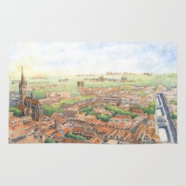Delft aerial view in watercolor Rug