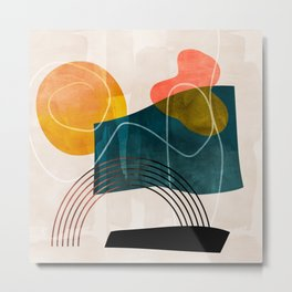 mid century shapes abstract painting Metal Print