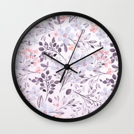 Hand painted modern pink lavender watercolor floral Wall Clock