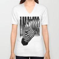 zebra V-neck T-shirts featuring Zebra by Regan's World