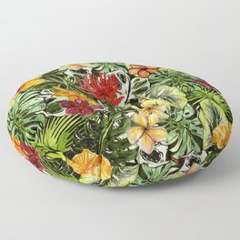 Tropical Vintage Exotic Jungle Flower Flowers - Floral watercolor pattern Floor Pillow