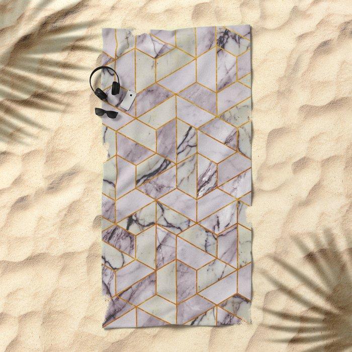 Vintage Marble Art Deco Pattern Beach Towel
