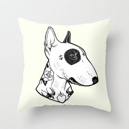 Bull Terrier dog Tattooed Throw Pillow