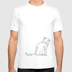 Cat illustration Mens Fitted Tee MEDIUM White