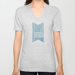 Digital Stitches thick beige + blue Unisex V-Neck