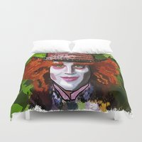 mad hatter Duvet Covers featuring Mad Hatter by grapeloverarts