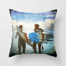 Two surfers Throw Pillow