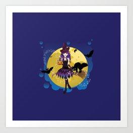 Flying witch illustration Art Print