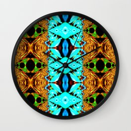 Gold, green and neon blue Snake Skin psychedelic fractal. Wall Clock
