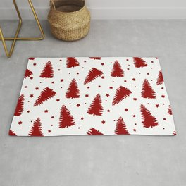 Red Christmas Tree & Snow Seamless Pattern Over White Background Rug