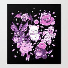 Final Fantasy Moogle Chocobo Tonberry Cactuar Bomb BatEye Gimme Cat Trick or treat Canvas Print