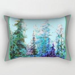 Grey  Blue Mountain Nature Landscape Blue-Greens Rectangular Pillow