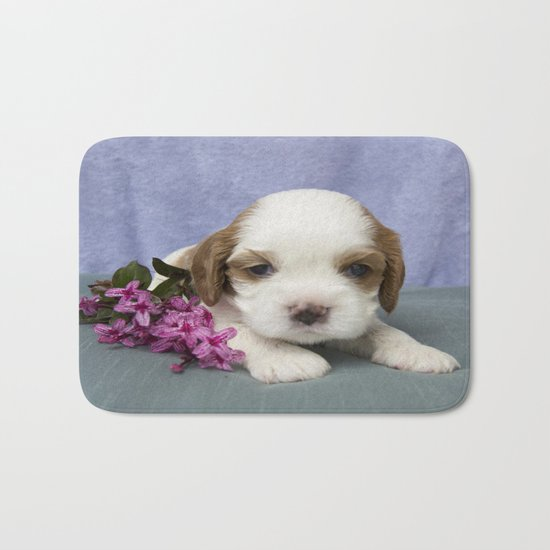 Puppy with flowers Bath Mat