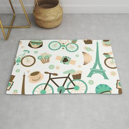 Brown green and white Paris symbols pattern Rug