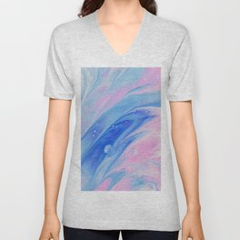 Pink & Blue Watercolor Unisex V-Neck
