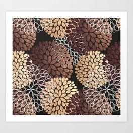 Copper Dahlia Floral Pattern Art Print