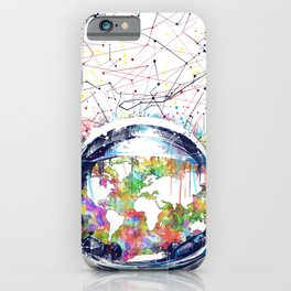 astronaut world map colorful iPhone Case