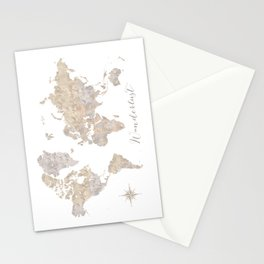 Wanderlust watercolor world map with compass rose Stationery Cards