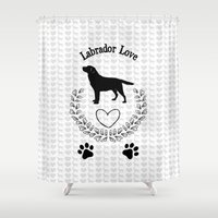 labrador Shower Curtains featuring Labrador Love by naturessol